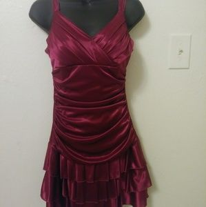 Plum colored rouched halter dress by Trixxi